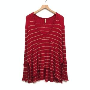 Free People Red Striped High Low Sweater - Size XS